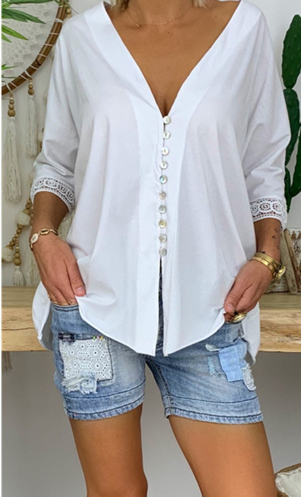 Button Down Lace Patchwork Casual Blouse