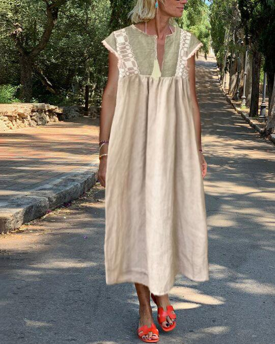 Short sleeve linen straight dress