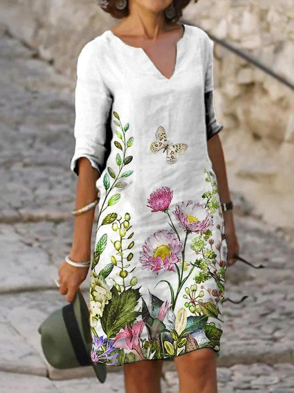 White V Neck Casual Floral Dress