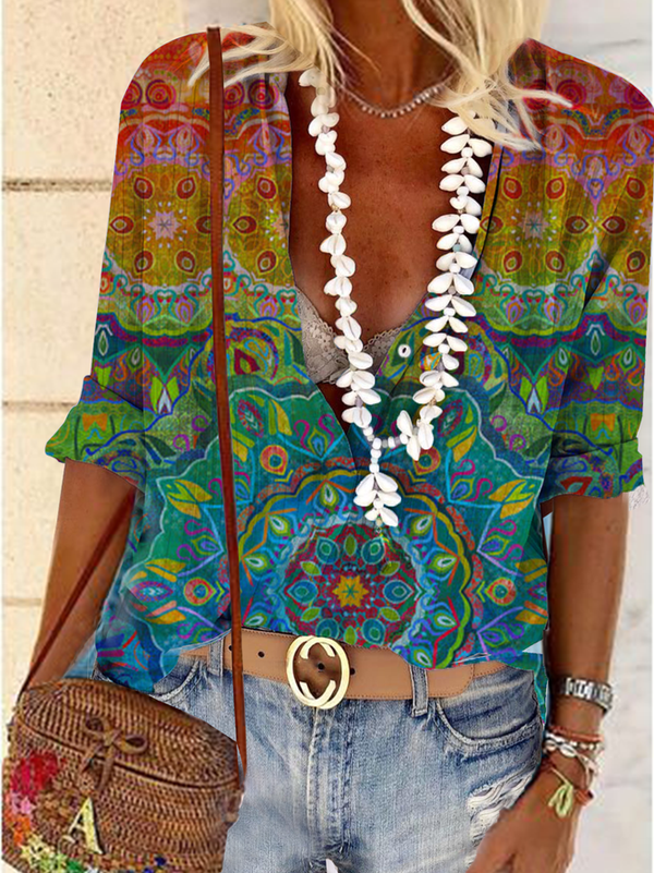 Floral Print V Neck Holiday Shift Shirts & Tops