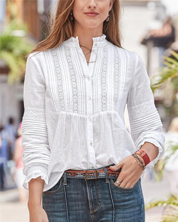 Lace Button Long Sleeve Blouse
