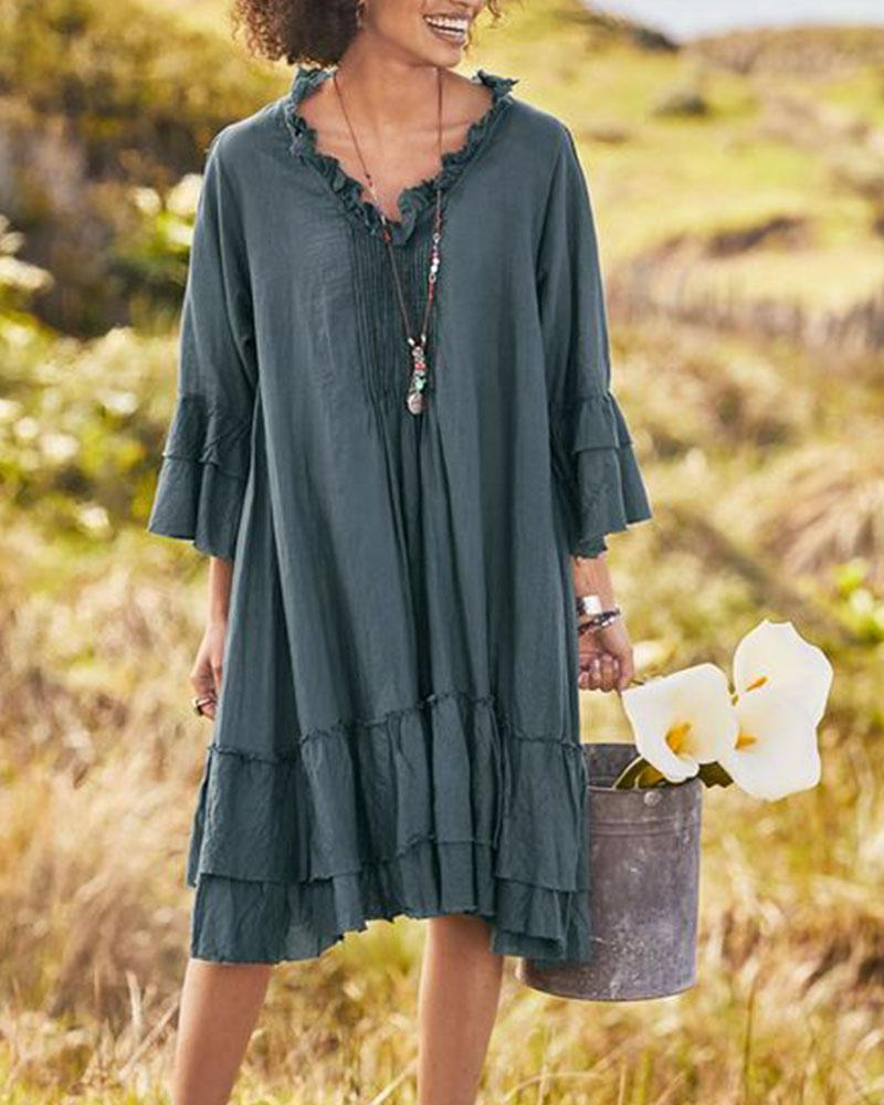 Plain Cotton Ruffled V-Neck Dress