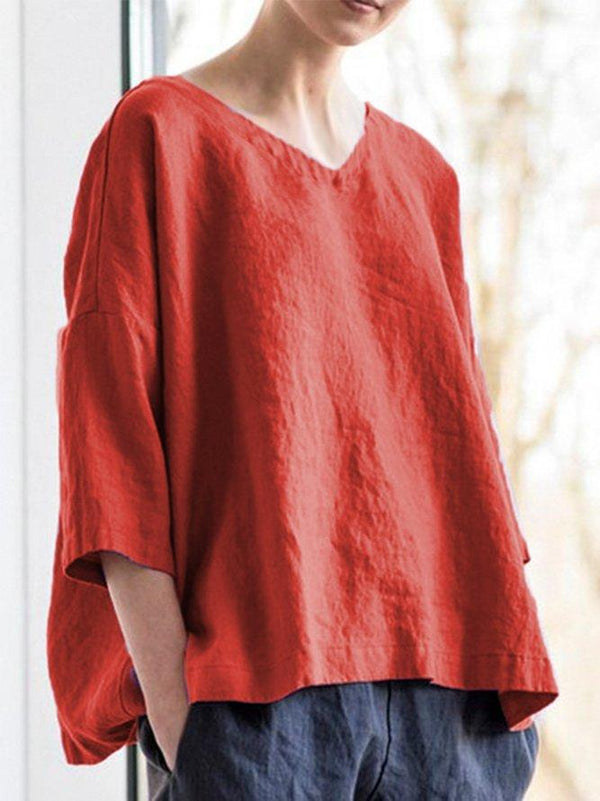 V Neck Casual Long Sleeve Linen Elegant Daytime Shirts & Tops
