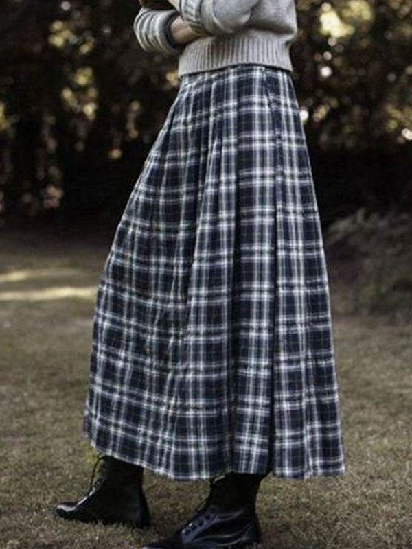 Plaid Cotton-Blend Casual Vintage Skirt
