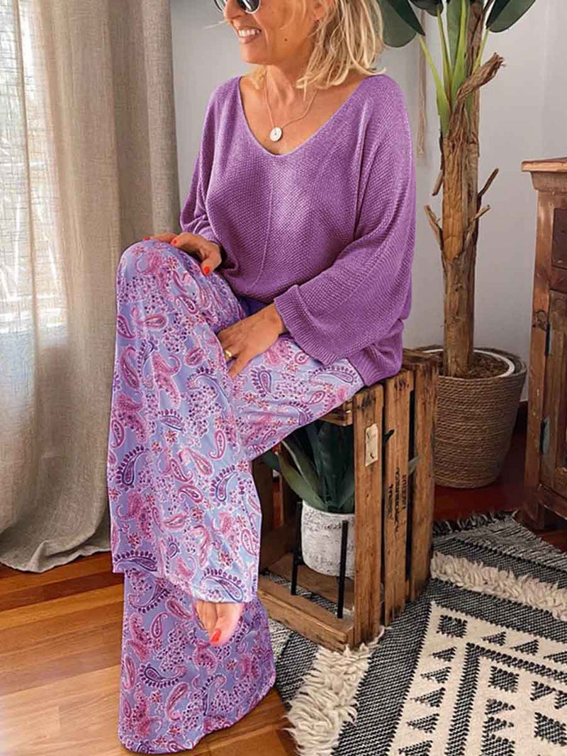 Casual Loose V-Neck Knit Top Floral Print Pants Suit
