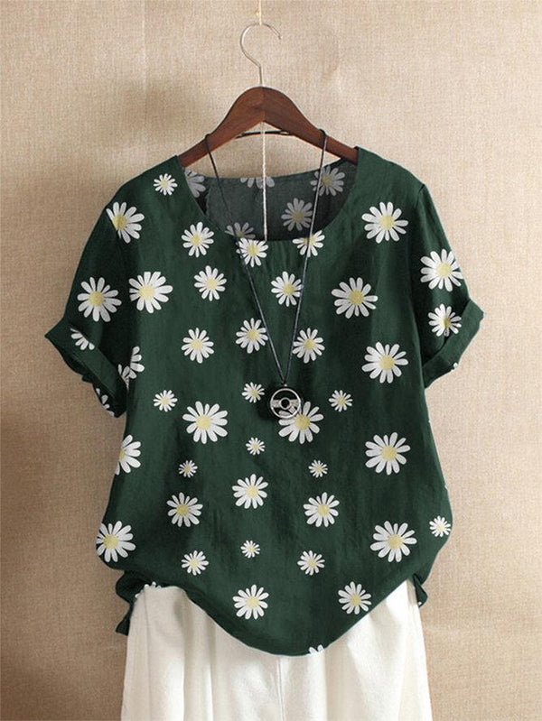 Daisy Print Short Sleeve Shift Shirts & Tops