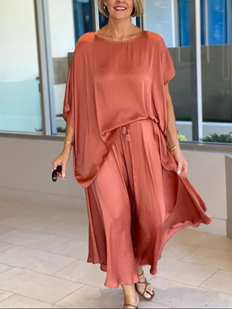 Fashion Round Neck Drop Shoulder Top Skirt Two-Piece Suit