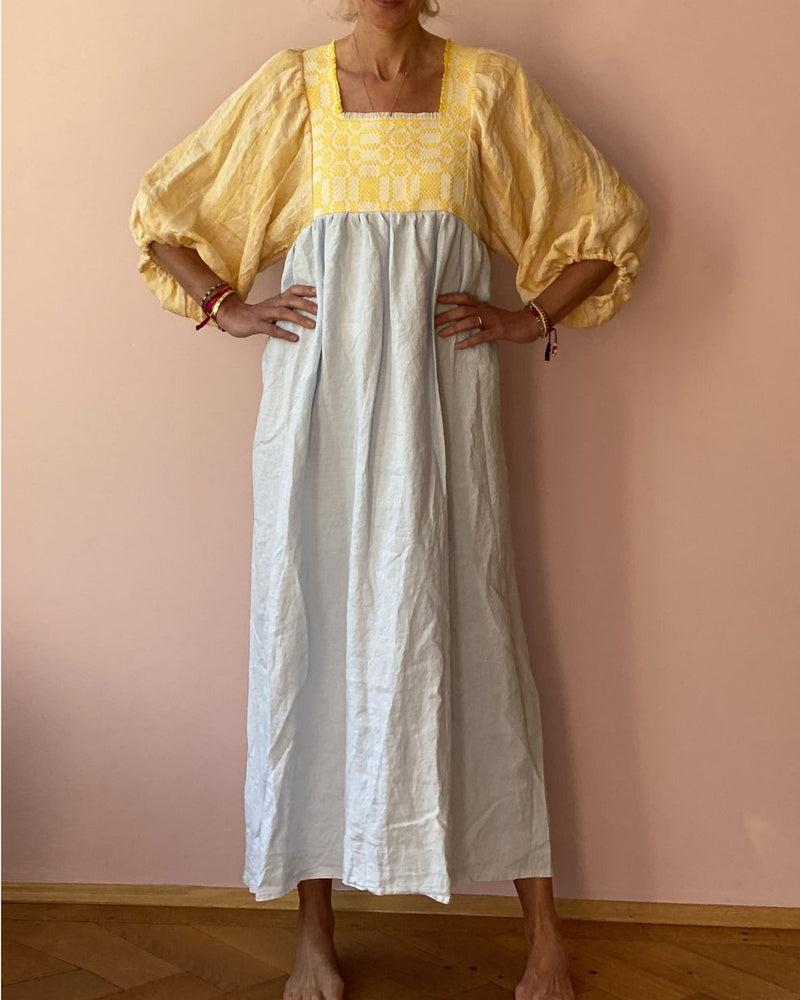 Square collar cotton and linen embroidered dress