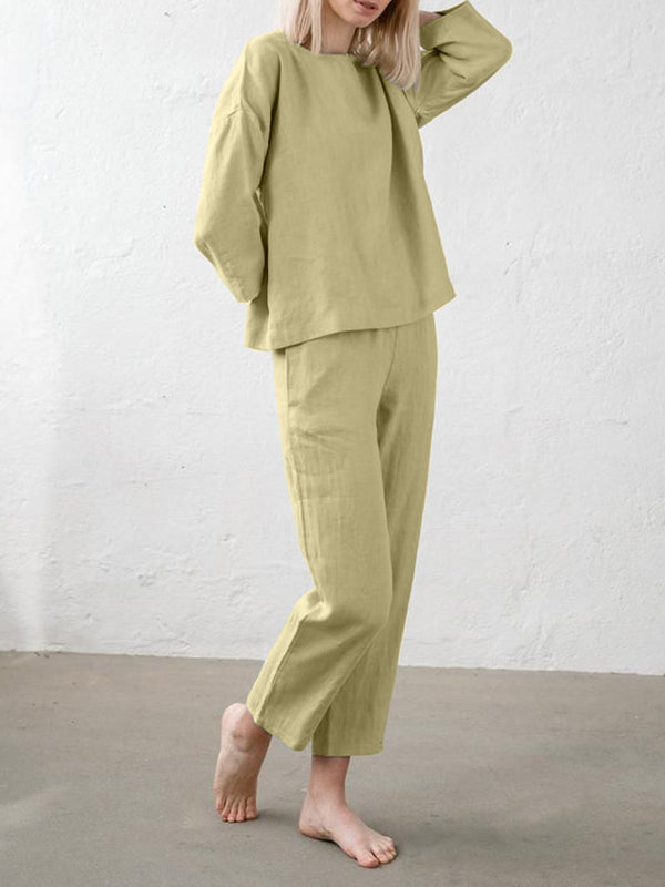 Simple Solid Color Long Sleeve Cotton Linen Suit