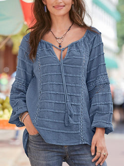 Irregular V Neck  Loose Long Sleeve Tunic