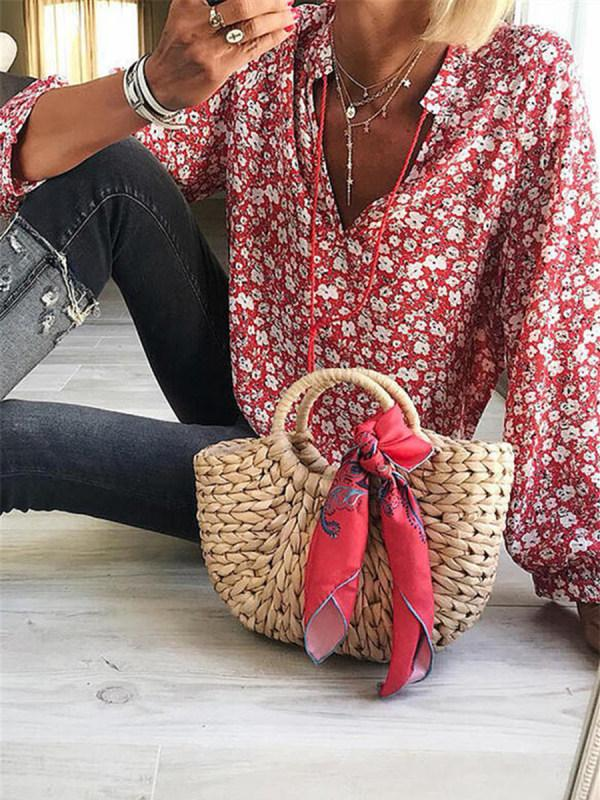 Loose Nine-Sleeve V-Neck Tassel Shirt