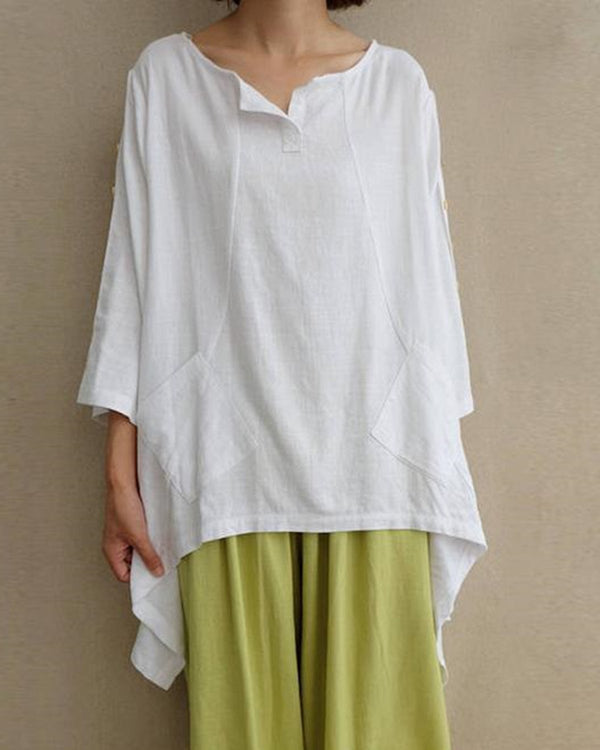 Casual Buttoned Irregular Linen Woman Tops