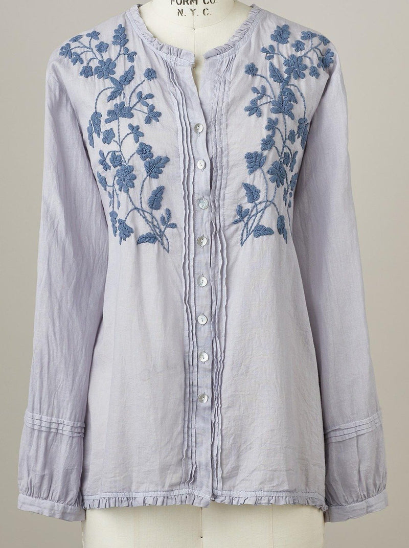 Button Embroidered Round Neck Top