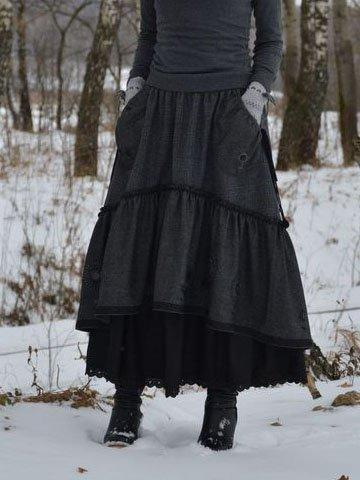 Cotton  Vintage Paneled Skirt