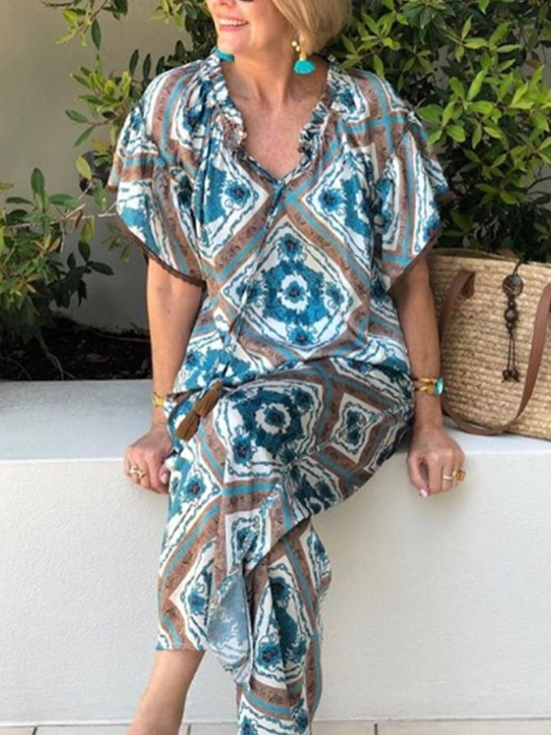 Printed Holiday Short Sleeve Women's Suit