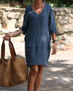 V-neck cotton and linen dress