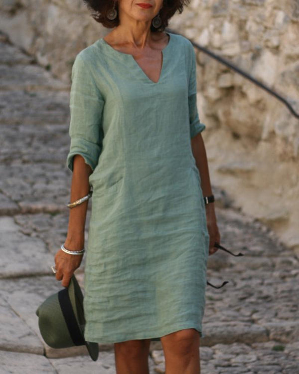 Cotton Linen V-neck Dress