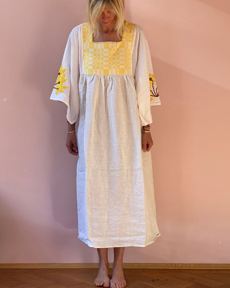 Cotton and linen embroidered straight dress
