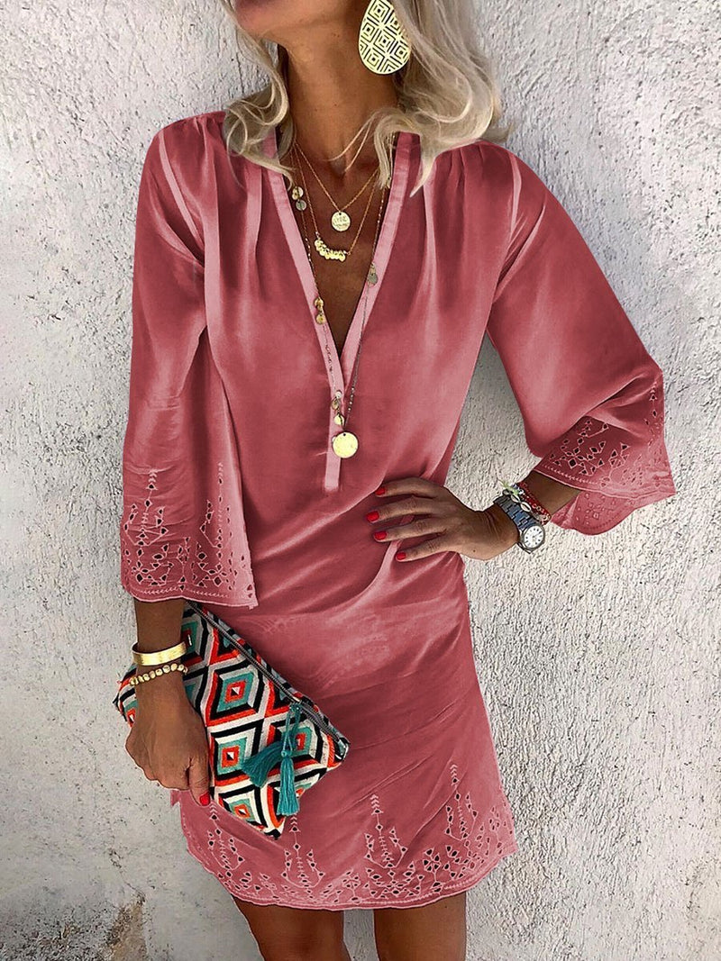 Bohemian Loose V Neck Long Sleeve Dress