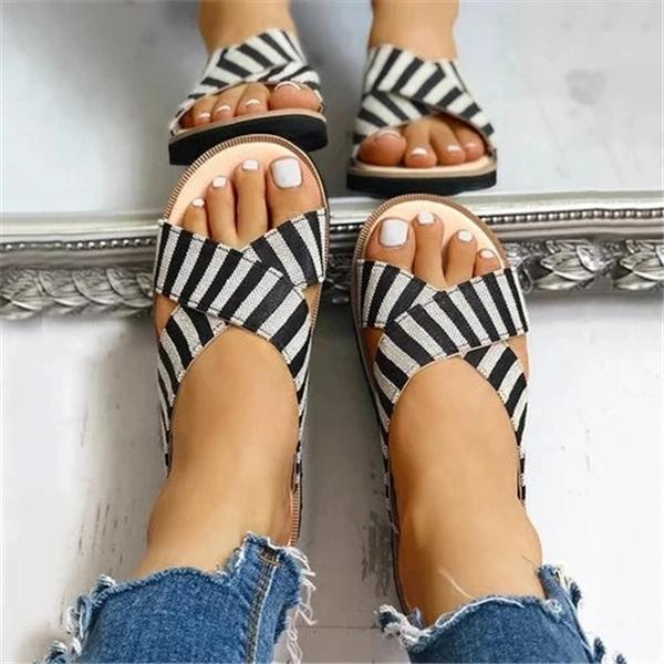 Vivisboho Crisscross Design Striped Flat Sandals