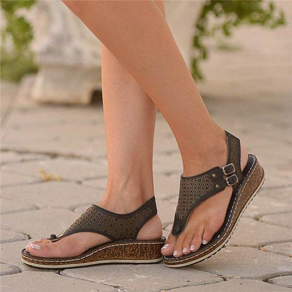 Vivisboho Hollow Double Buckle Wedge Mules Sandals