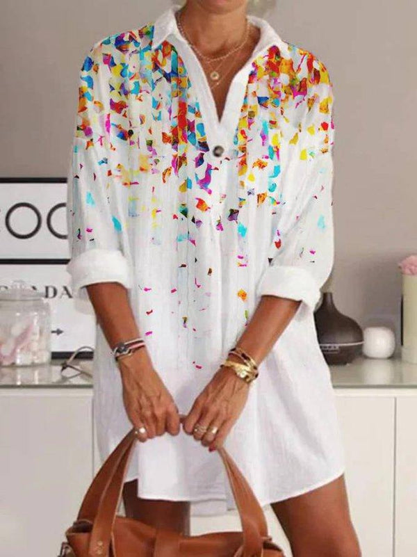 White Floral Shirt Collar Cotton Blended Casual Dress