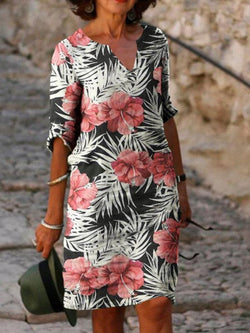 Casual Printed V Neck Short Sleeve Dresses