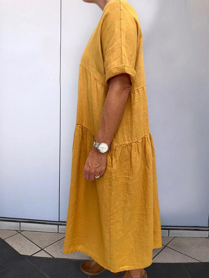 Yellow Short Sleeve V Neck Solid Dresses