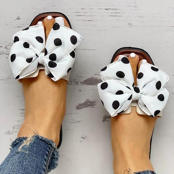 Vivisboho Bowknot Design Open Toe Slippers