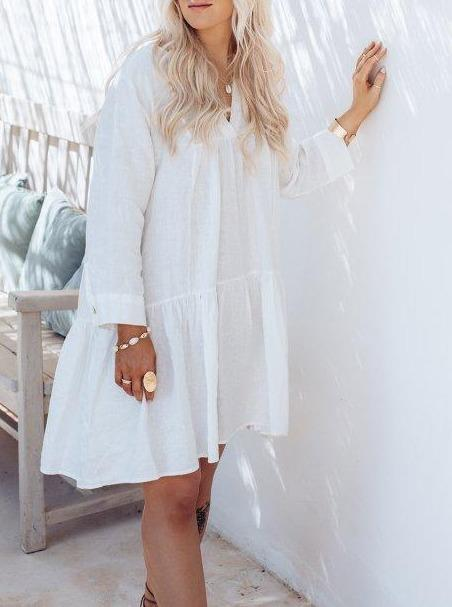 Rianna Linen Dress Off White