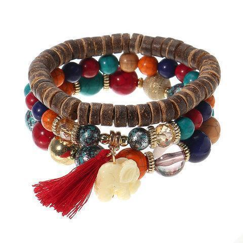 3 Pcs/set Bohemian Multilayer Beads Bracelet Wood Elastic Bracelet with Tassel