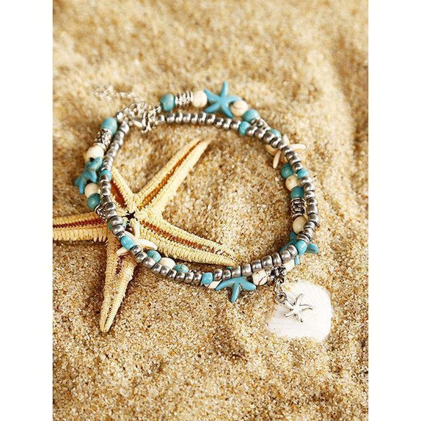 Personality Fashion Multi-layer Starfish Jewelry Anklet