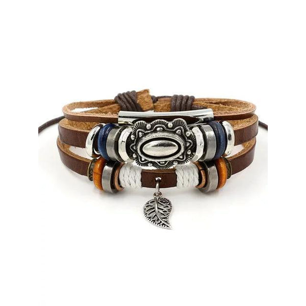Womens Multi-layers Alloy Artificial Leather Bracelet