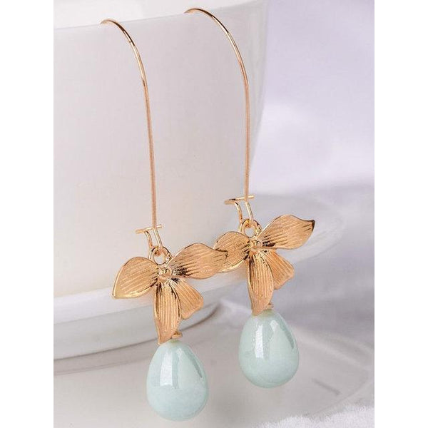 Women Stud Orchid Flower Sage Green Pearl Earring Hook Dangle Bridal