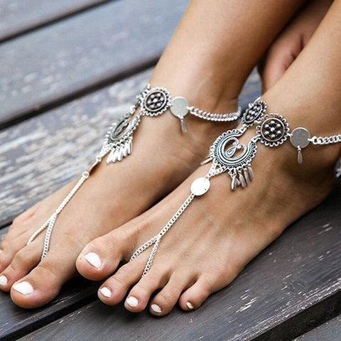 Women Fashion Carved Anklets