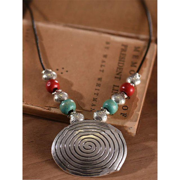Silver Alloy Vintage Boho Beads Holiday Necklaces