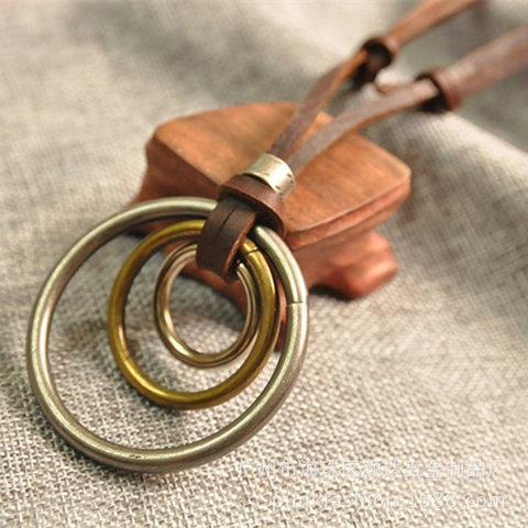 Vintage Alloy Round Sweater Necklace