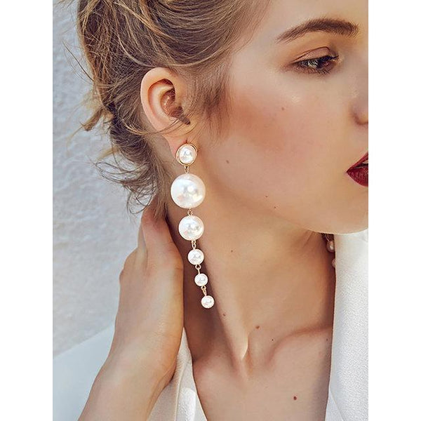 Womens Pendant Pearl Alloy Long Earrings