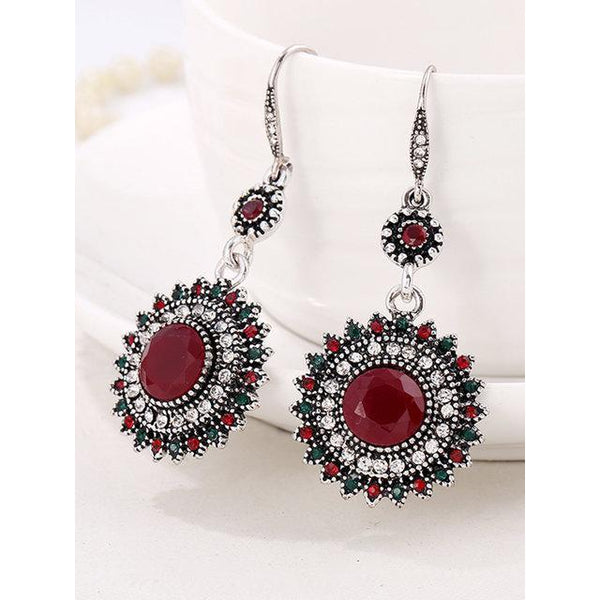 Womens Sunflower Retro Ear Drop Pendant Turquoise Rhinestone Earrings