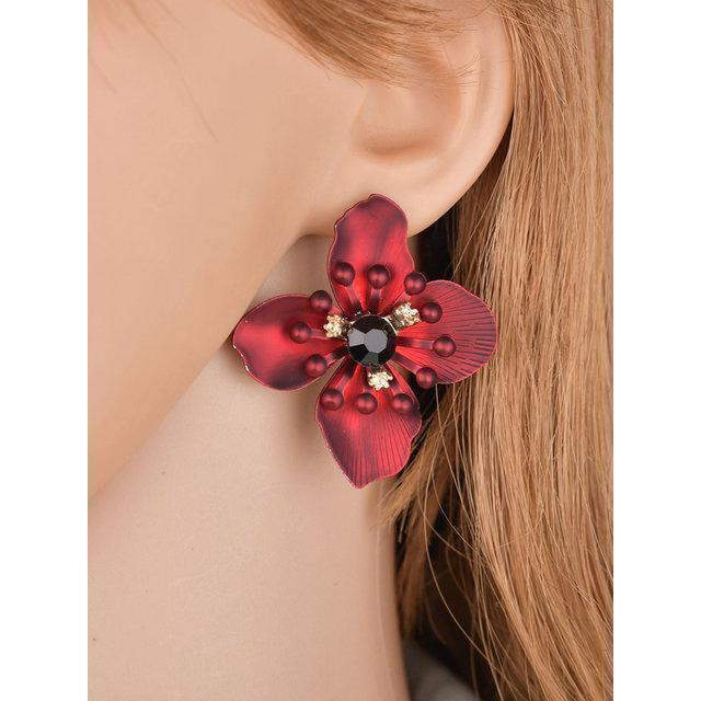 Womens Flower Diamond Bohemian Earrings
