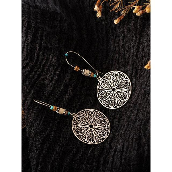 Vintage Hollow-Out Flower Alloy Earrings