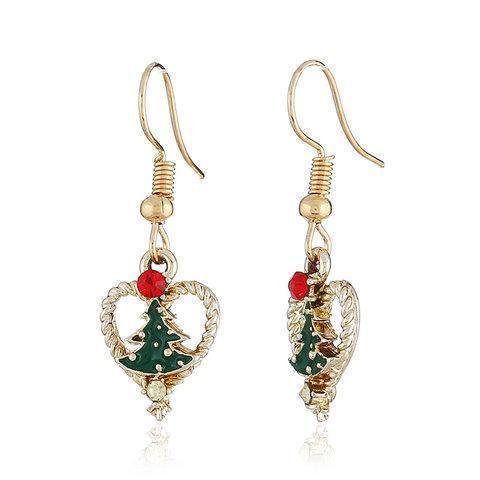 Christmas Heart Shaped Dangle Drop Earrings