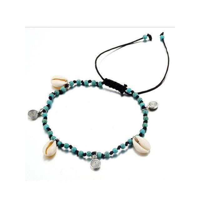 Handmade knotted Shell Conch Taffeta Alloy Pendant Anklet