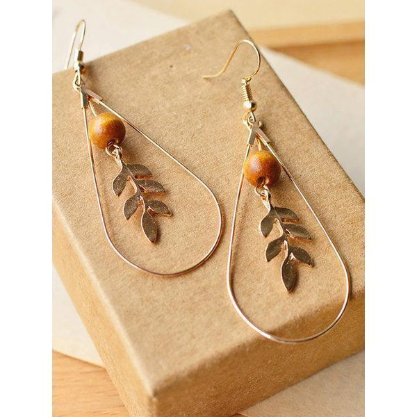 Womens Vintage Alloy Leaf Earrings