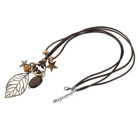 Womens Vintage Hollow Alloy Leaf Sweater Necklaces