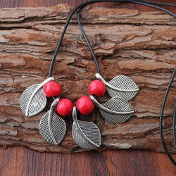 Womens Vintage Alloy Leaf Sweater Necklace