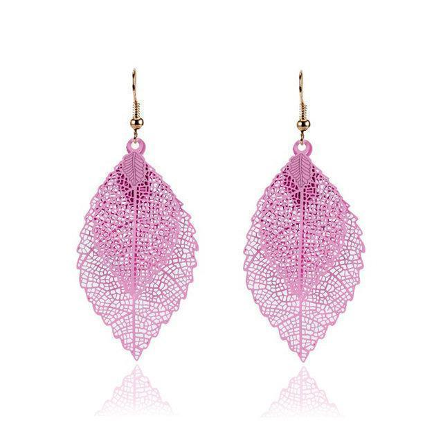 Fashion Double Leaf Pendant Drop Earrings Simple Retro Alloy Leaf Earrings