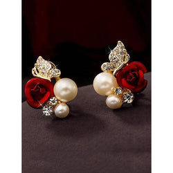 Luxury Gold Plated Red Rose Stud Earrings Rhinestones Butterfly Pearl Earrings for Womens