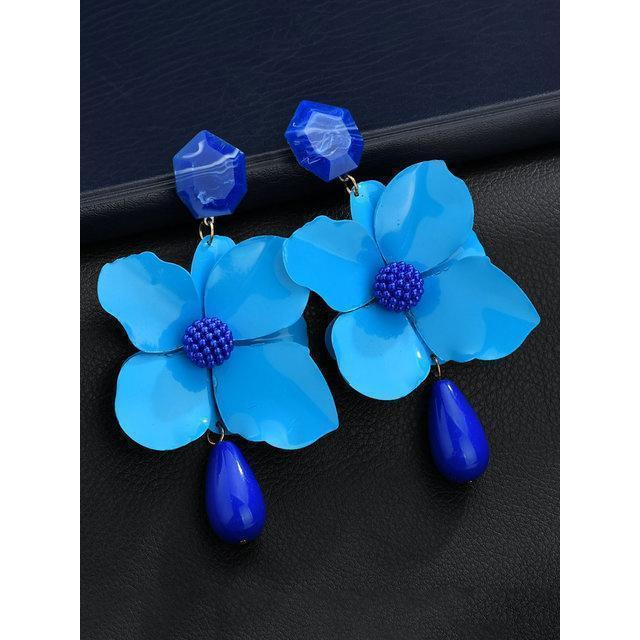 Hot Sale Womens Metal Paint Flower Earrings