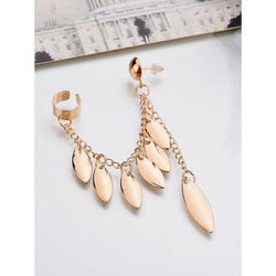 Womens Hot Gold-plated Tassel Leaf Earrings